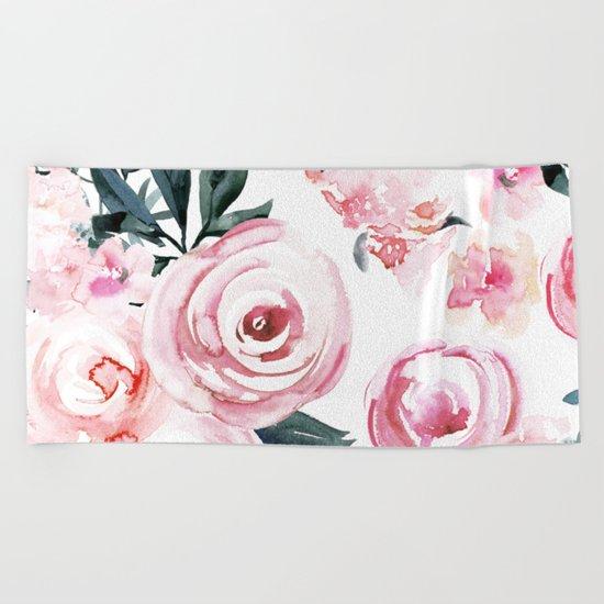 Watercolor Rose Beach Towel