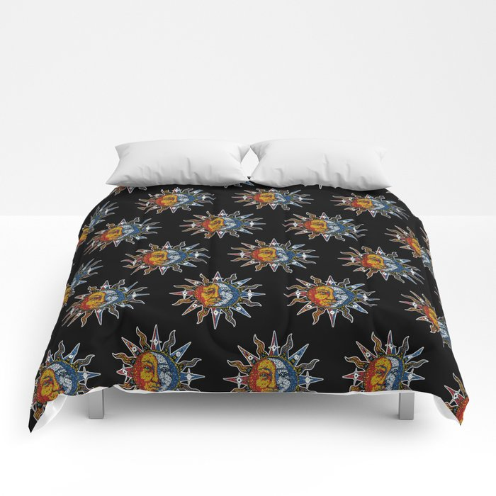Celestial Mosaic Sun and Moon Comforters