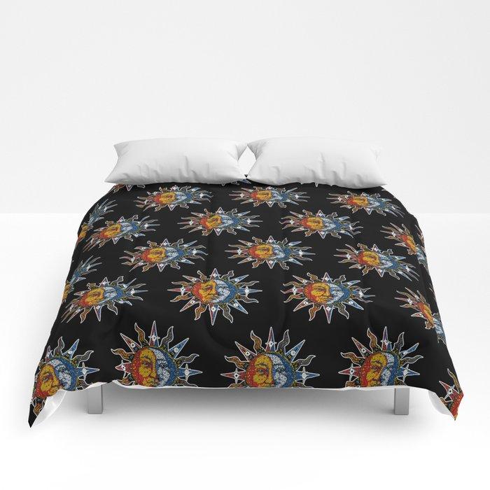Celestial Mosaic Sun and Moon Comforters