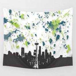 Seahawks Seattle Skyline Wall Tapestry