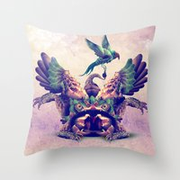 monster Throw Pillows featuring monster by Ali GULEC