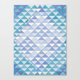 Triangle Pattern No. 9 Shifting Blue and Turquoise Canvas Print