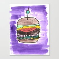 hamburger Canvas Prints featuring hamburger by yayanastasia