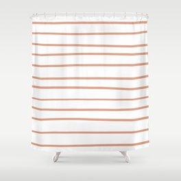 Pratt and Lambert Earthen Trail 4-26 Hand Drawn Horizontal Lines on Pure White Shower Curtain