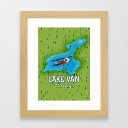 Lake Van Turkey travel map. Framed Art Print