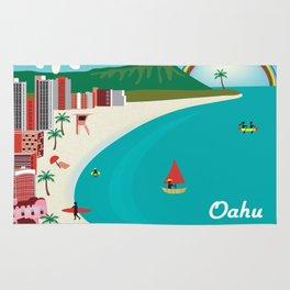 Oahu, Hawaii - Skyline Illustration by Loose Petals Rug