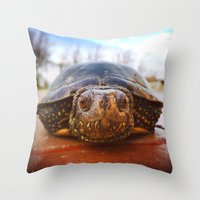 turtle Throw Pillows featuring Turtle by Anna Milousheva