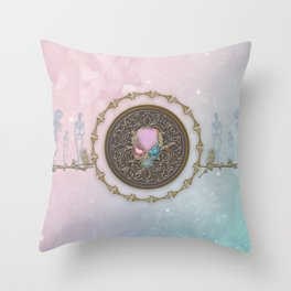 Noble skull with crows Throw Pillow