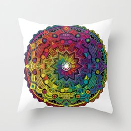 Time Dilation - Psychedelic Mandala Rainbow series Throw Pillow