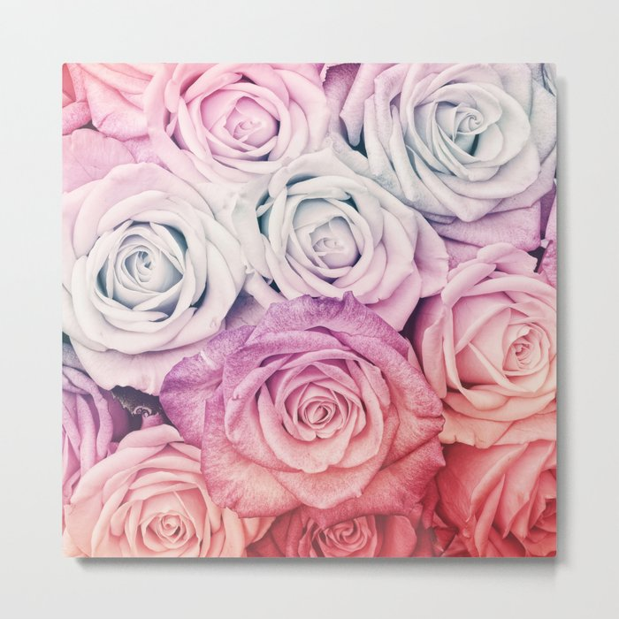 Some people grumble II  Floral rose flowers pink and multicolor Metal Print