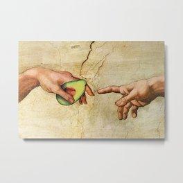 Leonardo Da Vinci Hands with  Avocado Metal Print