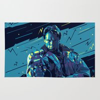terminator Area & Throw Rugs featuring The Terminator // Evil Villians by mergedvisible