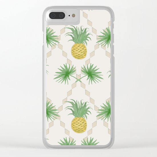 Exotic tropical seamless pattern with palm branches and pineapples . Clear iPhone Case