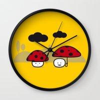 mushroom Wall Clocks featuring Mushroom by pludadesign