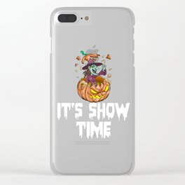 Witch Pumpkin, It's Show Time Funny Halloween Horror Scary Clear iPhone Case
