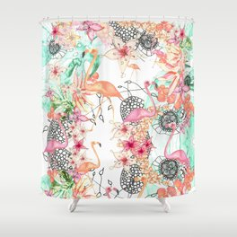TROPICAL FlAmINGOS Shower Curtain