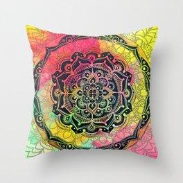 Rainbow Mandala Throw Pillow