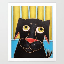 Happy Black Dog Art Print