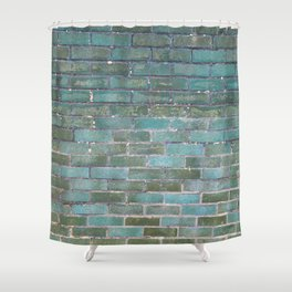 Green Wall Shower Curtain