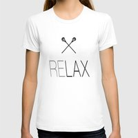 lacrosse T-shirts featuring Relax Lacrosse LAX by RexLambo