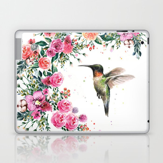 Hummingbird and Flowers Watercolor Animals Laptop & iPad Skin