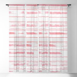 simple stamped scarlet stripes Sheer Curtain