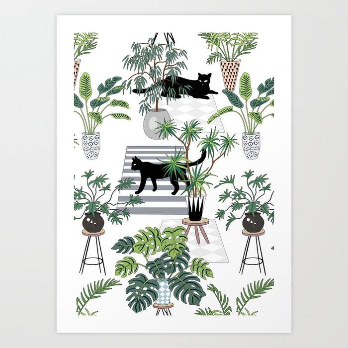 cats in the interior pattern Kunstdrucke