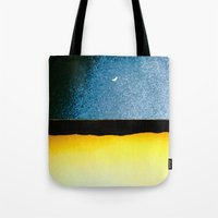 moon phase Tote Bags featuring New Moon - Phase I by Marina Kanavaki