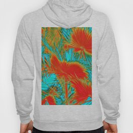 closeup palm leaf texture abstract background in orange blue green Hoody