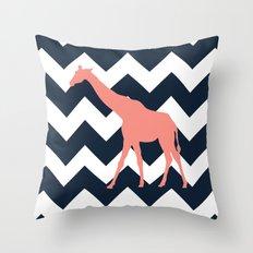 Giraffe on Chevron Background Throw Pillow