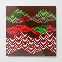 scales simple Nature background with japanese wave circle pattern dark brown burgundy maroon green Metal Print