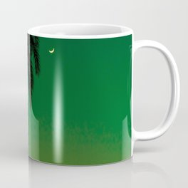 Tropical Palm Tree Silhouette Green Ombre Sunset Crescent Moon At Night Coffee Mug