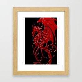 Flying Red and Black Tribal Dragon Framed Art Print
