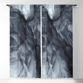 Gray Black Gradient Dramatic Flowing Abstract Painting Blackout Curtain