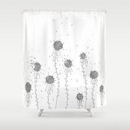 Floral Hand Drawn Doodle Art Shower Curtain