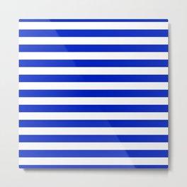 Cobalt Blue and White Horizontal Beach Hut Stripe Metal Print