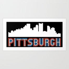 Red White Blue Pittsburgh Pennsylvania Skyline Art Print