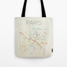 Minimal Paris Subway Map Tote Bag
