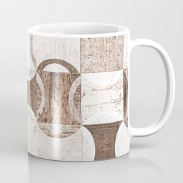 Retro Wood Blocks // Desaturated Grain Detail Circle and Square Pattern Coffee Mug