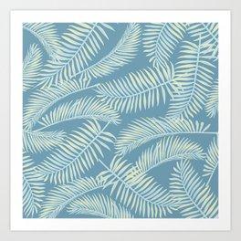 Palm Leaf Pattern Yellow And Blue Art Print