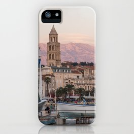 Pink and Purple Sunset on Split Croatia Waterfront Riva iPhone Case