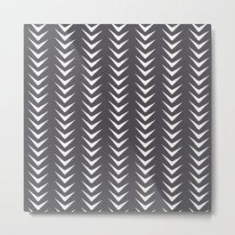 Perle Noir Chevron Line Mid-Century Shapes Metal Print
