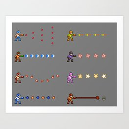 Mega Man NES Weapons - Pixel Art Art Print