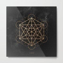 Mi Merkaba - Metatron's Cube Gold Metal Print