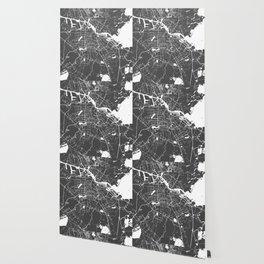 Amsterdam Gray on White Street Map Wallpaper