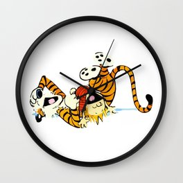 calvin and hobbes happy Wall Clock