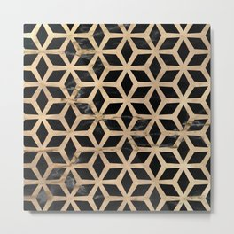 Pattern Formes Doré/Noir Metal Print