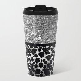 Animal Print Leopard Silver and Black Travel Mug