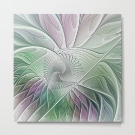 Colorful Fantasy Flower, Abstract Fractal Art Metal Print