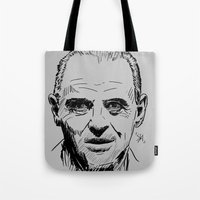 silence of the lambs Tote Bags featuring Hannibal Lecter Sketch - The Silence of the Lambs by Soyarts
